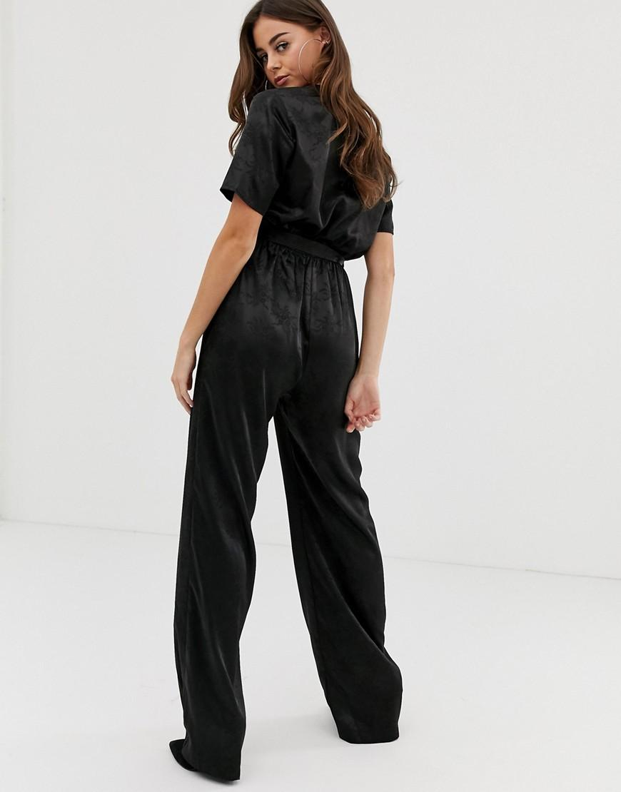 eb287fe41222 Lyst - PrettyLittleThing Satin Jumpsuit In Black Jaquard in Black