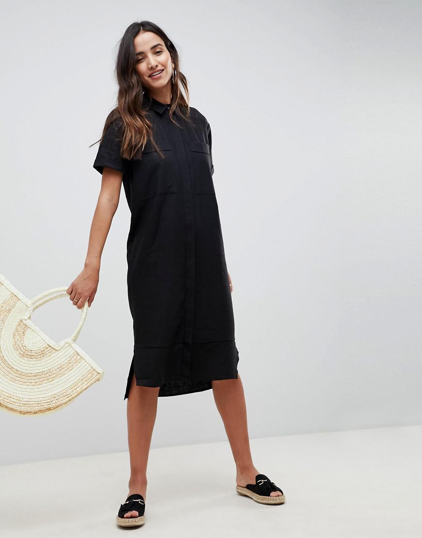 fe90a77d3a ASOS - Black Asos Casual Midi Shirt Dress In Linen - Lyst. View fullscreen