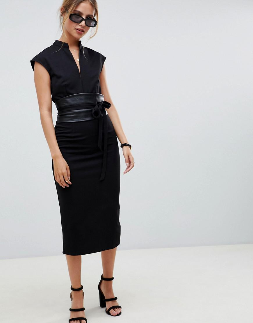 d0ea428a384f ASOS Pencil Midi Dress With Faux Leather Obi Belt in Black - Lyst
