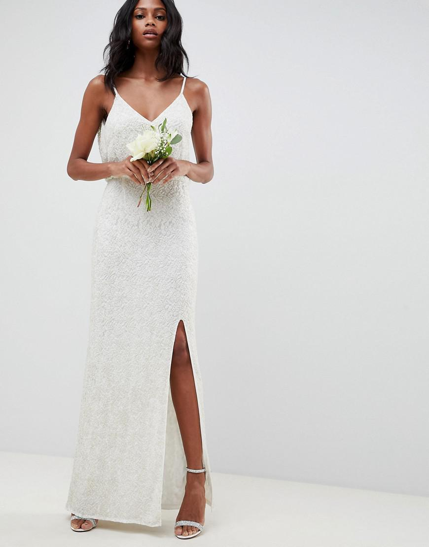 4569001c34 ASOS Floral Embellished Lace Wedding Dress in White - Lyst