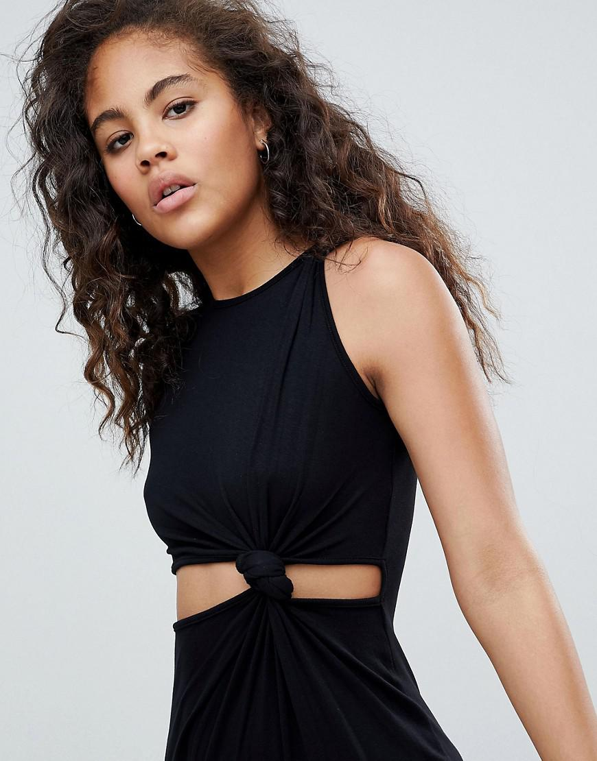 ASOS DESIGN Tall knot detail midi dress with cut out side in rib - Black Asos Tall fhhejlR