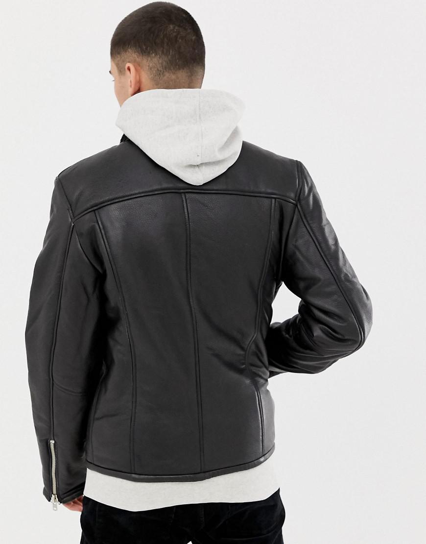 85aba9c7b73 Lyst - Bellfield Leather Biker Jacket In Black in Black for Men - Save 56%