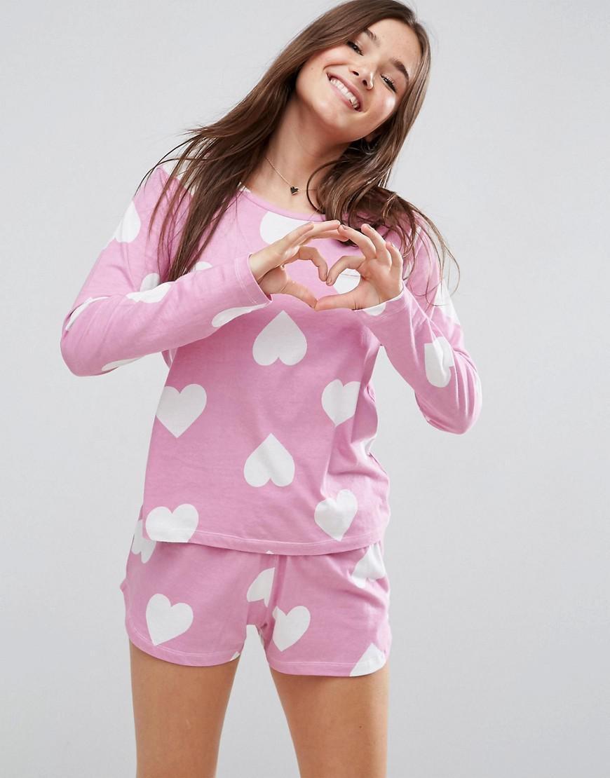 511dcf0356115 ASOS Heart Print Long Sleeve Tee & Short Pyjama Set in Pink - Lyst