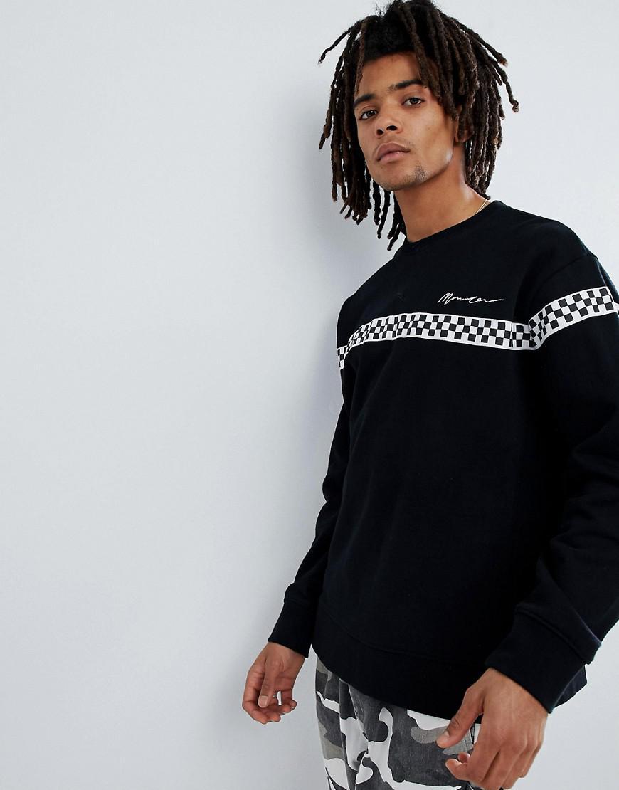 Mennace pour Lyst avec shirt Sweat damier empicement oversize q8PwRA8