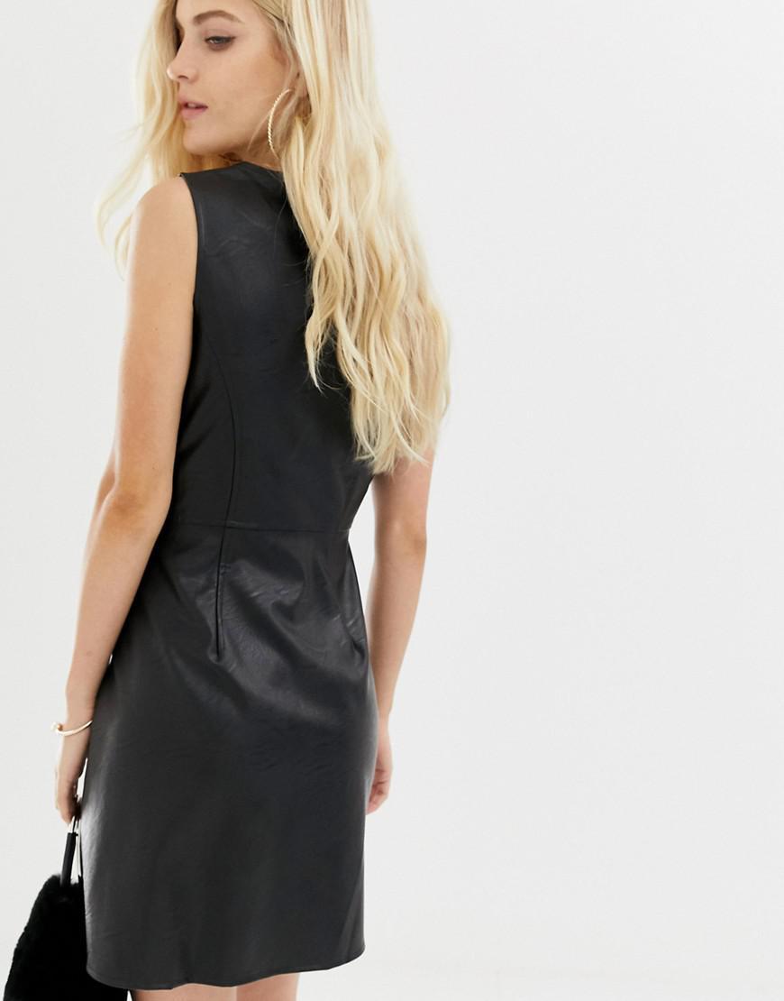 7fc3e3a01f0 Lyst - ASOS Sleeveless Popper Mini Dress In Pu in Black