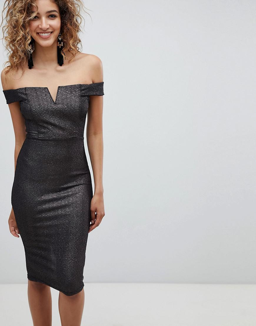 89515609f75a AX Paris Bardot Midi Dress in Black - Lyst