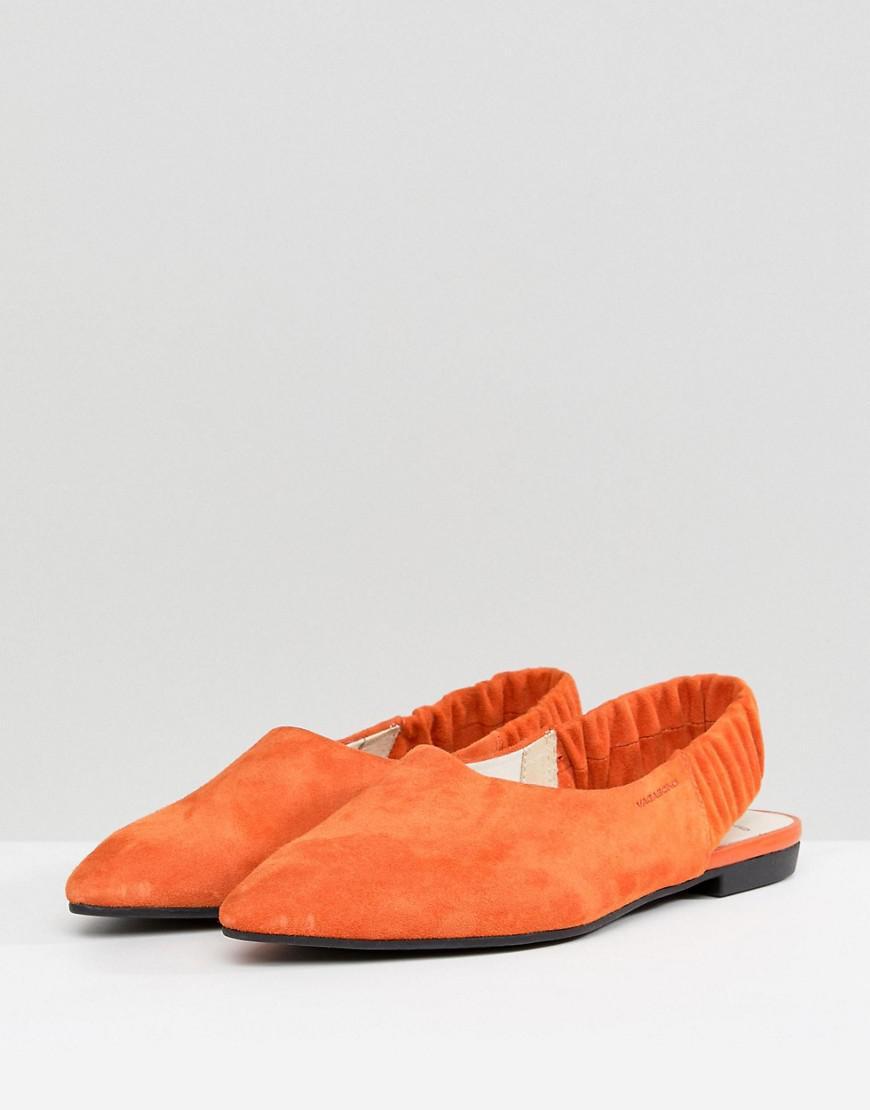 447f99ab4ee3 Lyst - Vagabond Katlin Orange Suede Sling Back Pointed Flat Shoes in Orange