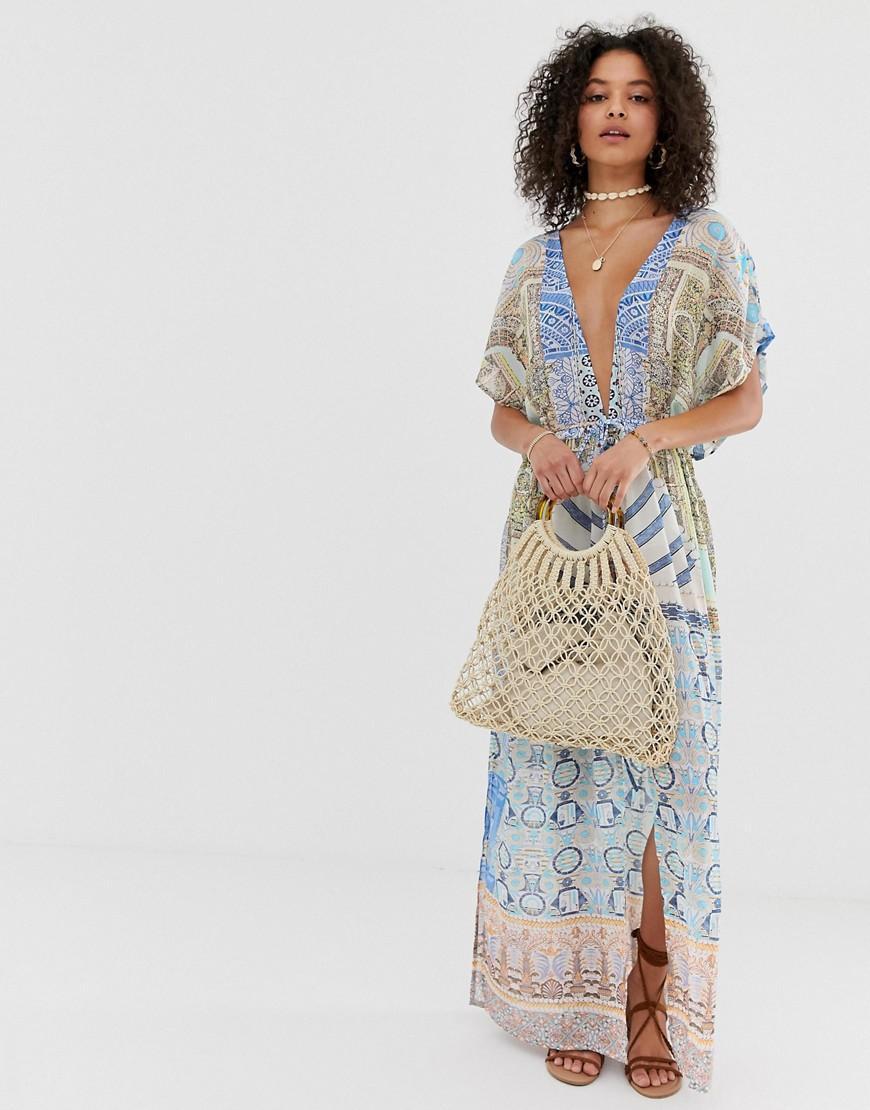 53b303b4dae Pia Rossini Mimoza Maxi Printed Beach Dress in Blue - Lyst