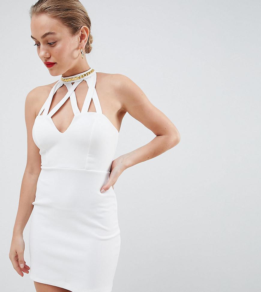 983c179e70c0 Lyst - ASOS Asos Design Petite Bodycon Mini Dress With Studded Trim ...