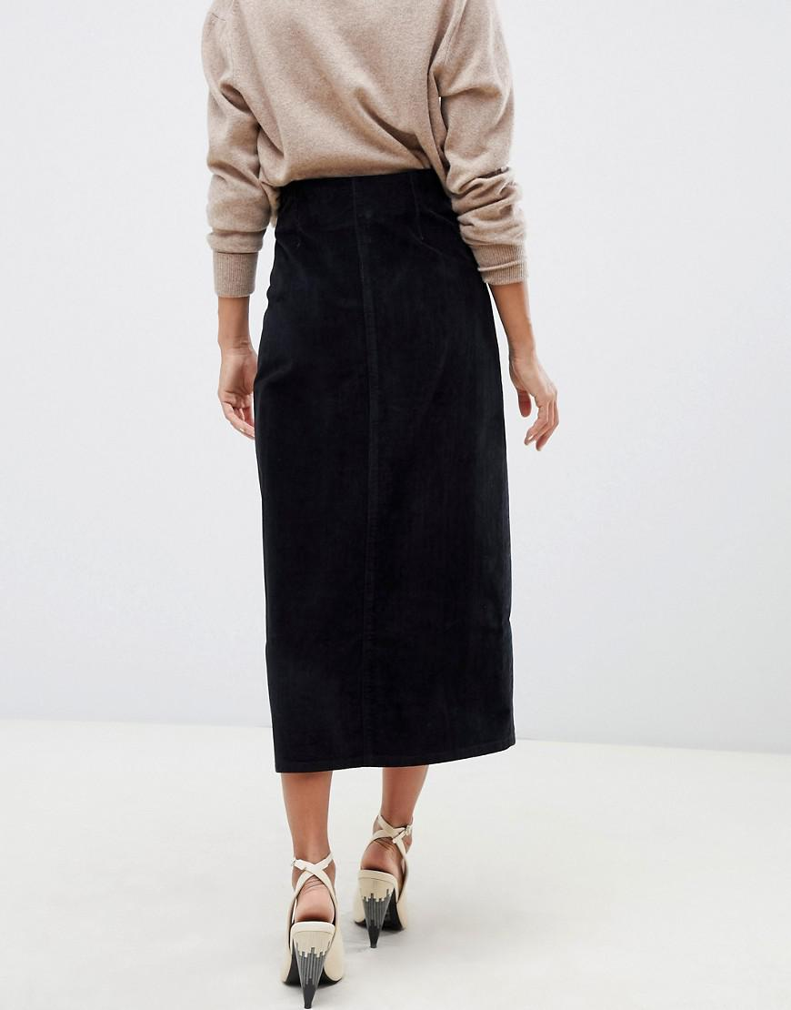 3aabbdb641 Lyst - ASOS Uncut Cord Button Through Midi Skirt In Washed Black in Black
