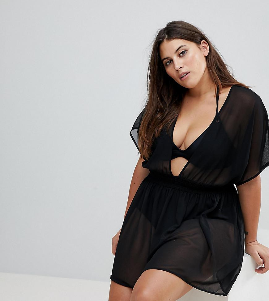 e7a8483b79a ASOS. Women s Black Asos Design Curve Shirred Waist Mini Chiffon Beach  Kaftan
