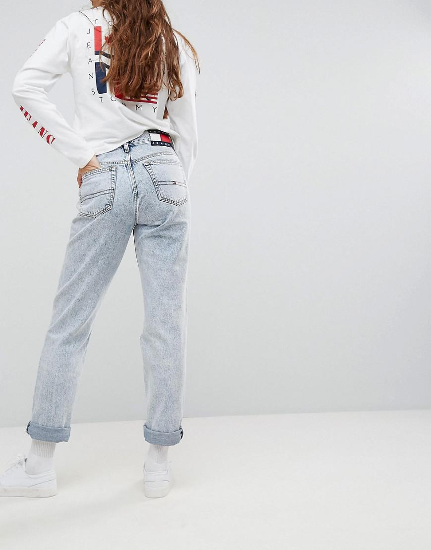 4db10858 Tommy Hilfiger Tommy Jeans 90s Capsule Bleached Out Mom Jean in Blue ...