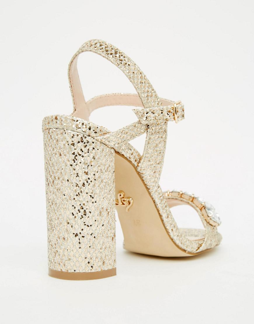 e352dc26d Lyst - Lipsy Bex Gold Thread Embellished Mid Heel Sandals