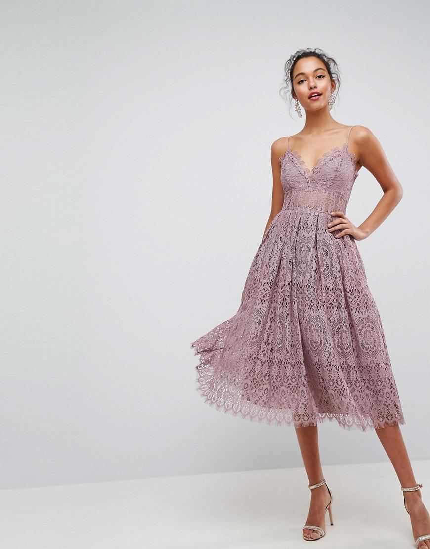 82bad80a2c7 ASOS Asos Lace Cami Midi Prom Dress in Purple - Lyst