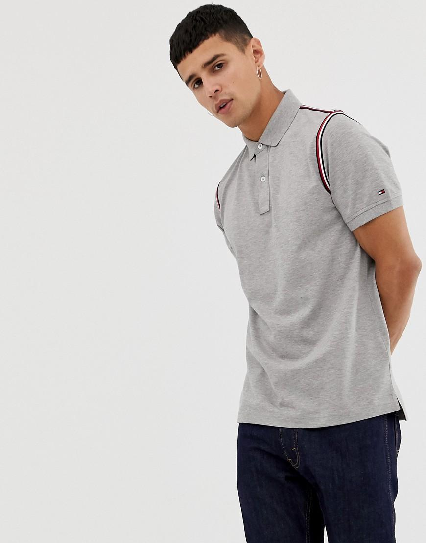 ae31d64ea Lyst - Tommy Hilfiger Icon Tape Trim Pique Polo Slim Fit In Gray ...