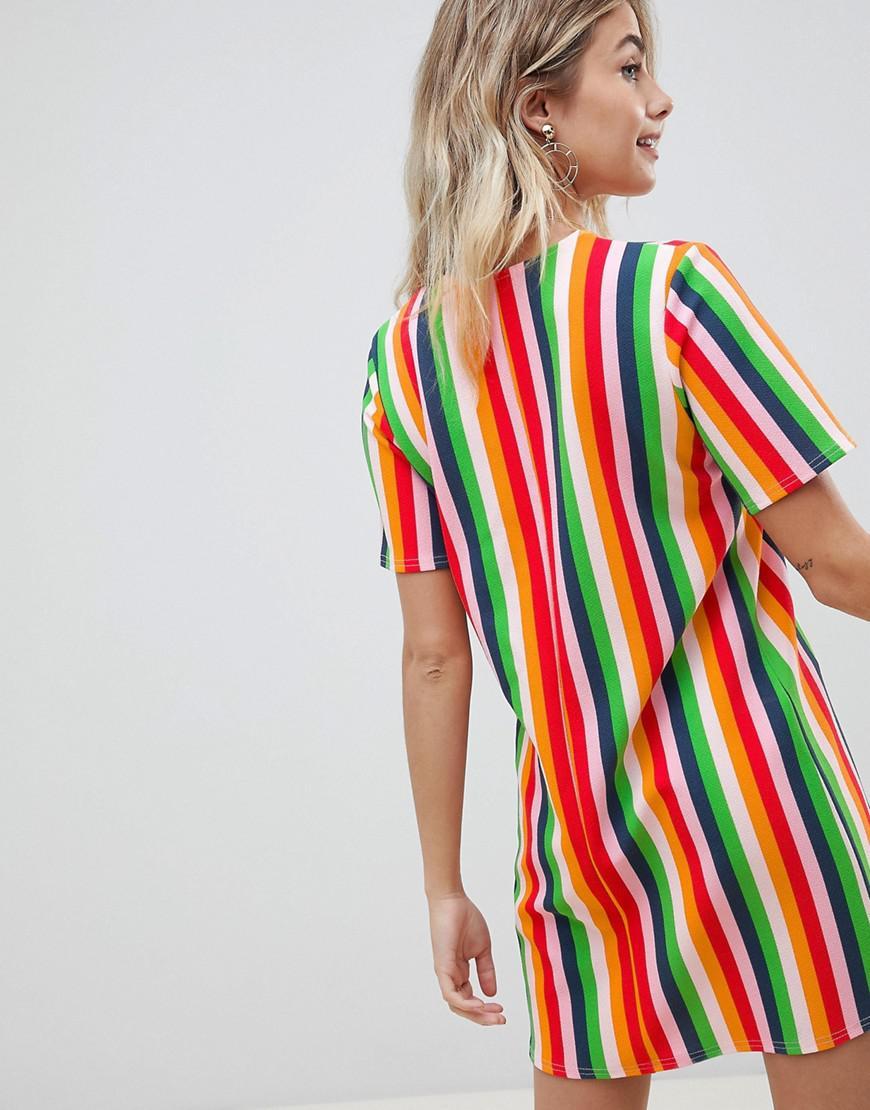 c90b6b9eed59 Boohoo Rainbow Stripe T-shirt Dress - Lyst