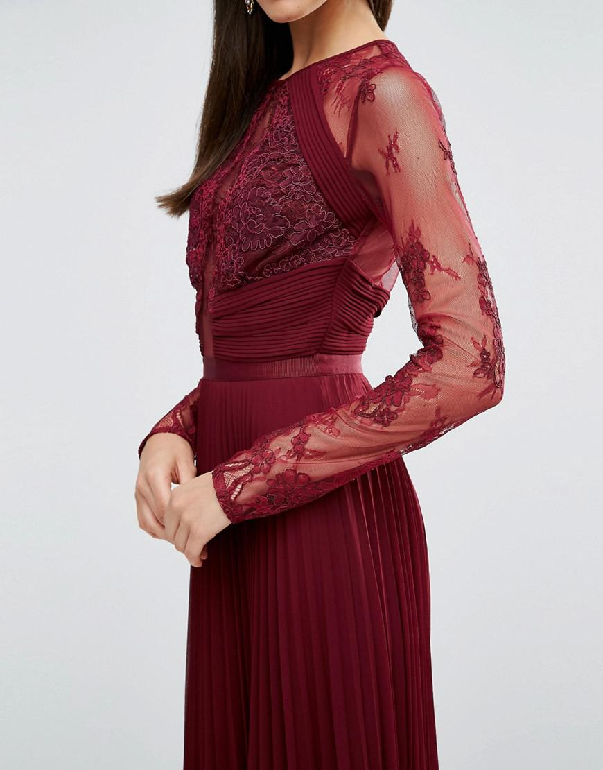 cf92fc5c1b52 Lyst - ASOS Wedding Pretty Lace Eyelash Pleated Maxi Dress in Red