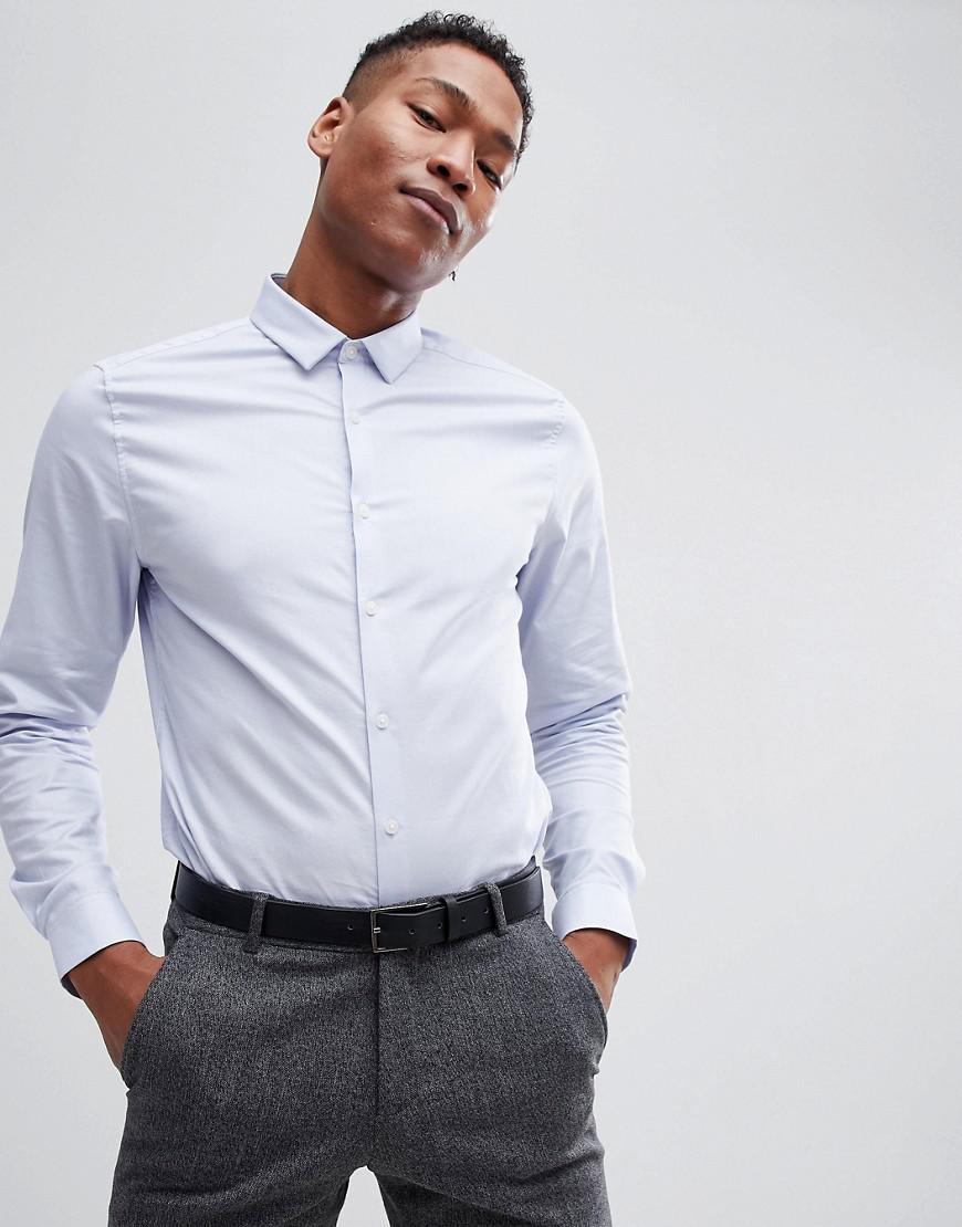 DESIGN slim shirt in blue - Blue Asos Sale Supply Outlet Visa Payment New Styles Cheap Online Marketable ZozinP