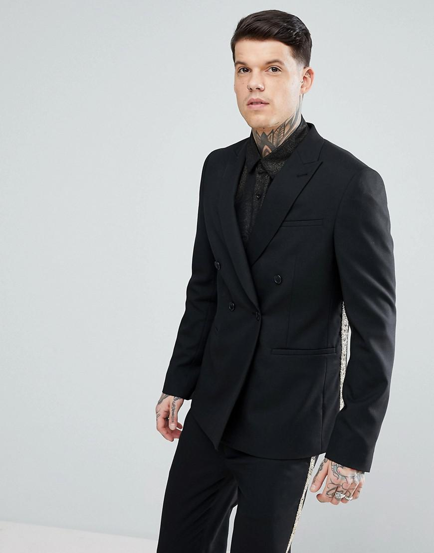 Lyst - Asos Skinny Double Breasted Suit Jacket In Black ...