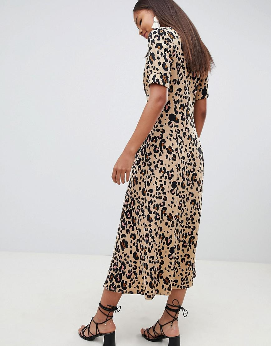 519f50d67be0 ASOS Asos Design Tall Animal Print Midi Tea Dress - Lyst
