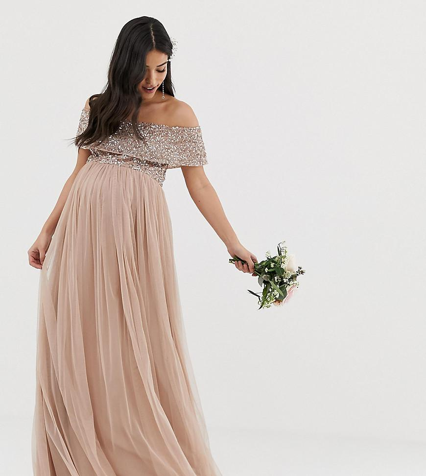 14487ad4dc8c Maya Maternity. Women s Brown Bridesmaid Bardot Maxi Tulle Dress With Tonal  Delicate Sequins In Taupe Blush
