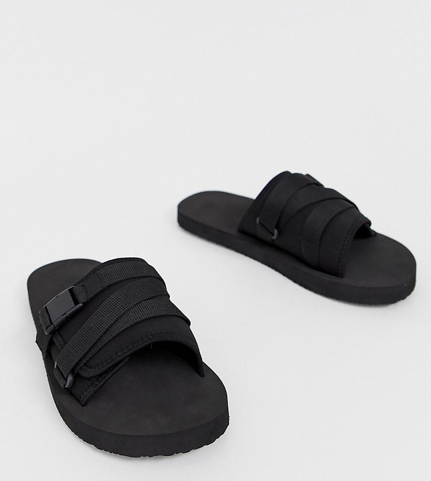 fa7d034d0 ASOS Tech Sliders In Black With Tape Straps in Black for Men - Lyst