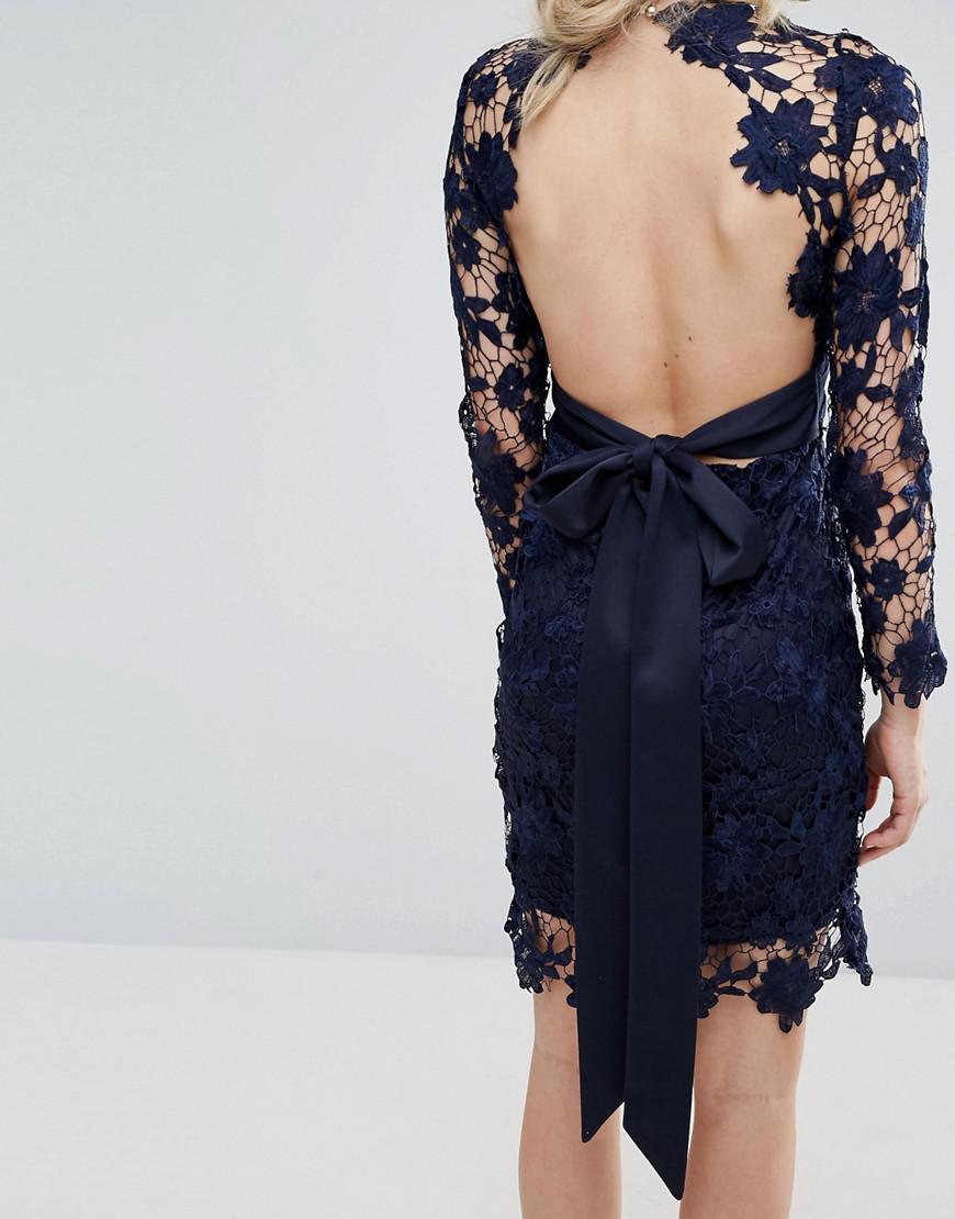 lyst club l long sleeve crochet dress with open back