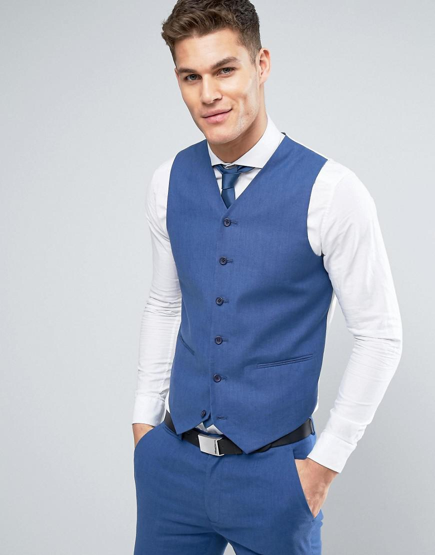 Lyst - Asos Wedding Super Skinny Suit Waistcoat In Mid Blue Stretch ...