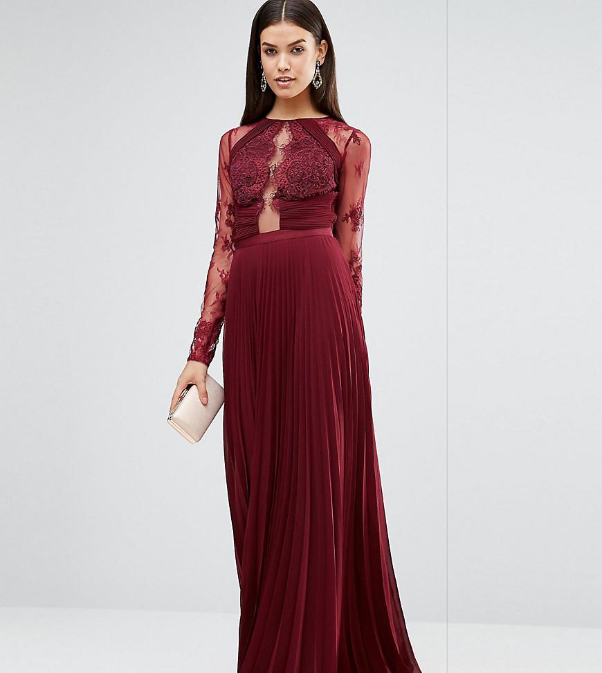 60149b4ffb47 ASOS Wedding Pretty Lace Eyelash Pleated Maxi Dress in Red - Lyst