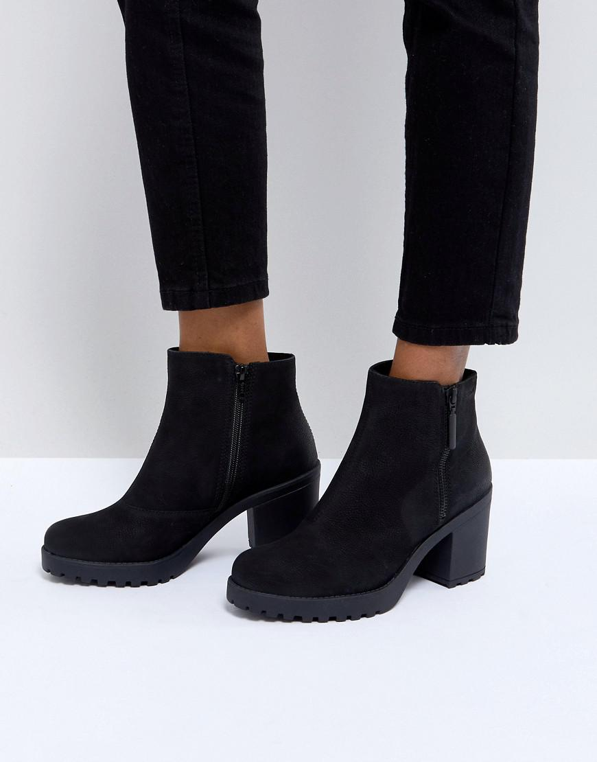 8babd730cb61 Lyst - Vagabond Grace Black Leather Ankle Boots With Zip in Black