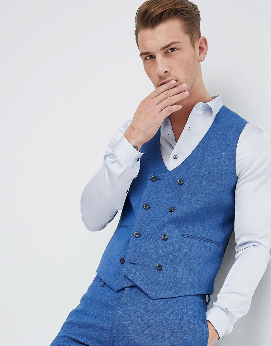 Lyst - Asos Wedding Super Skinny Suit Waistcoat In Bright Blue Micro ...