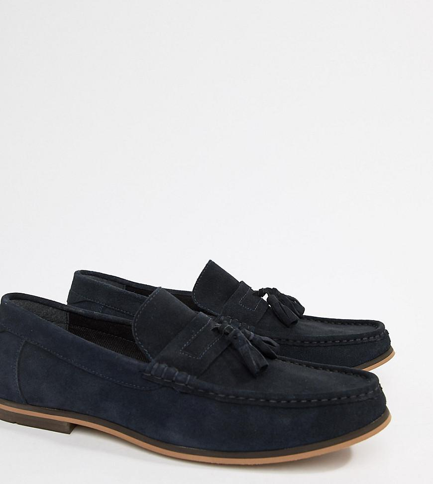 d534fc4754a ASOS Wide Fit Tassel Loafers In Navy Suede With Natural Sole in Blue ...