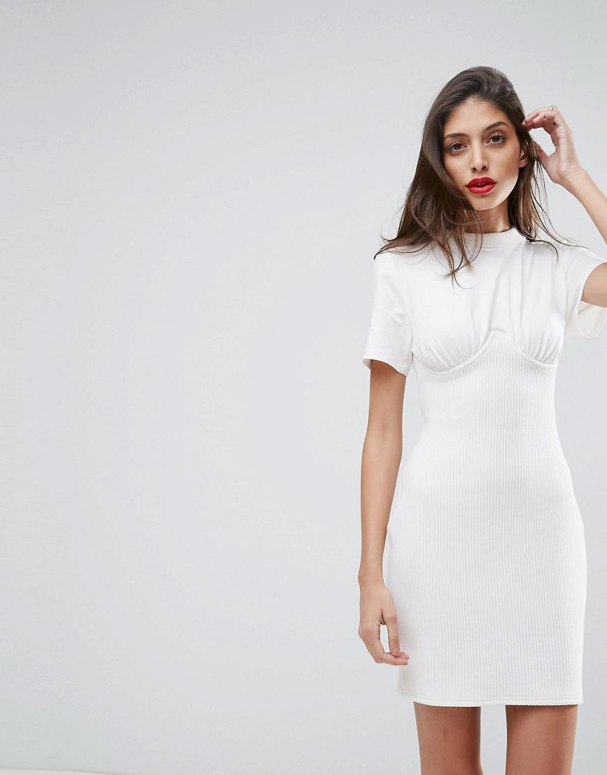 ab9f757b209 Lyst - ASOS Asos Ribbed Mini Corset Dress With Wired Cups in White