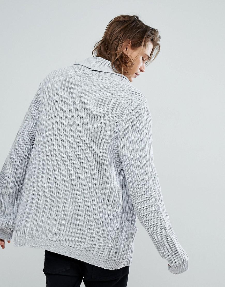 Asos Ultimate Knitted Cardigan In Pale Grey in Gray for Men | Lyst