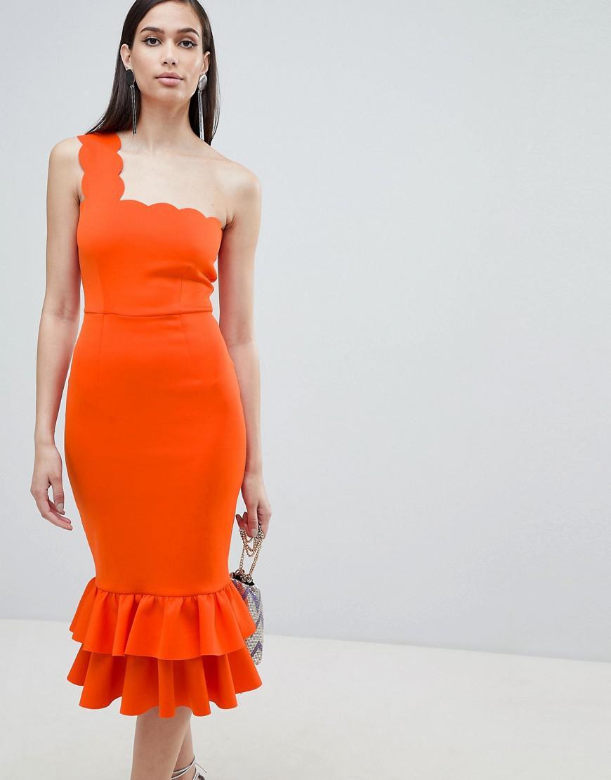 2ede5bcf3f4 Lyst - ASOS One Shoulder Scallop Pephem Midi Dress in Orange