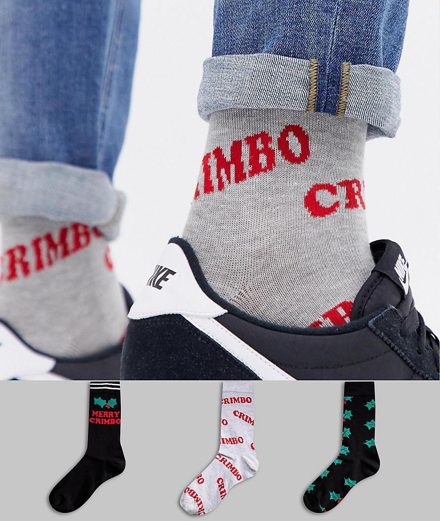 d6c6d83bc7e092 Asos Design Christmas Socks With Glitter Holly Design 3 Pack In Gift ...