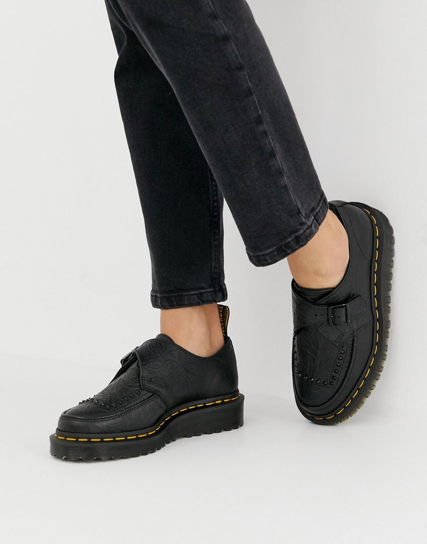 2f63762e205f Dr. Martens Ramsey Ii Black Embossed Leather Strap Chunky Flatform Shoes in  Black - Lyst