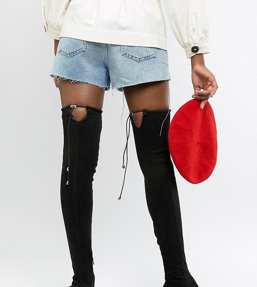 78e3025f5bc ASOS. Women s Black Asos Design Tall Kaska Flat Studded Thigh High Boots