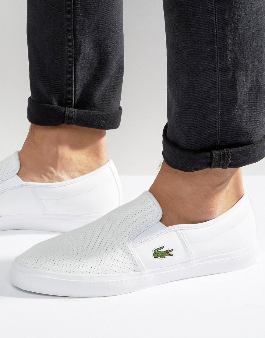 Gazon Leather Slip On Plimsolls - White Lacoste h6rVWqsa