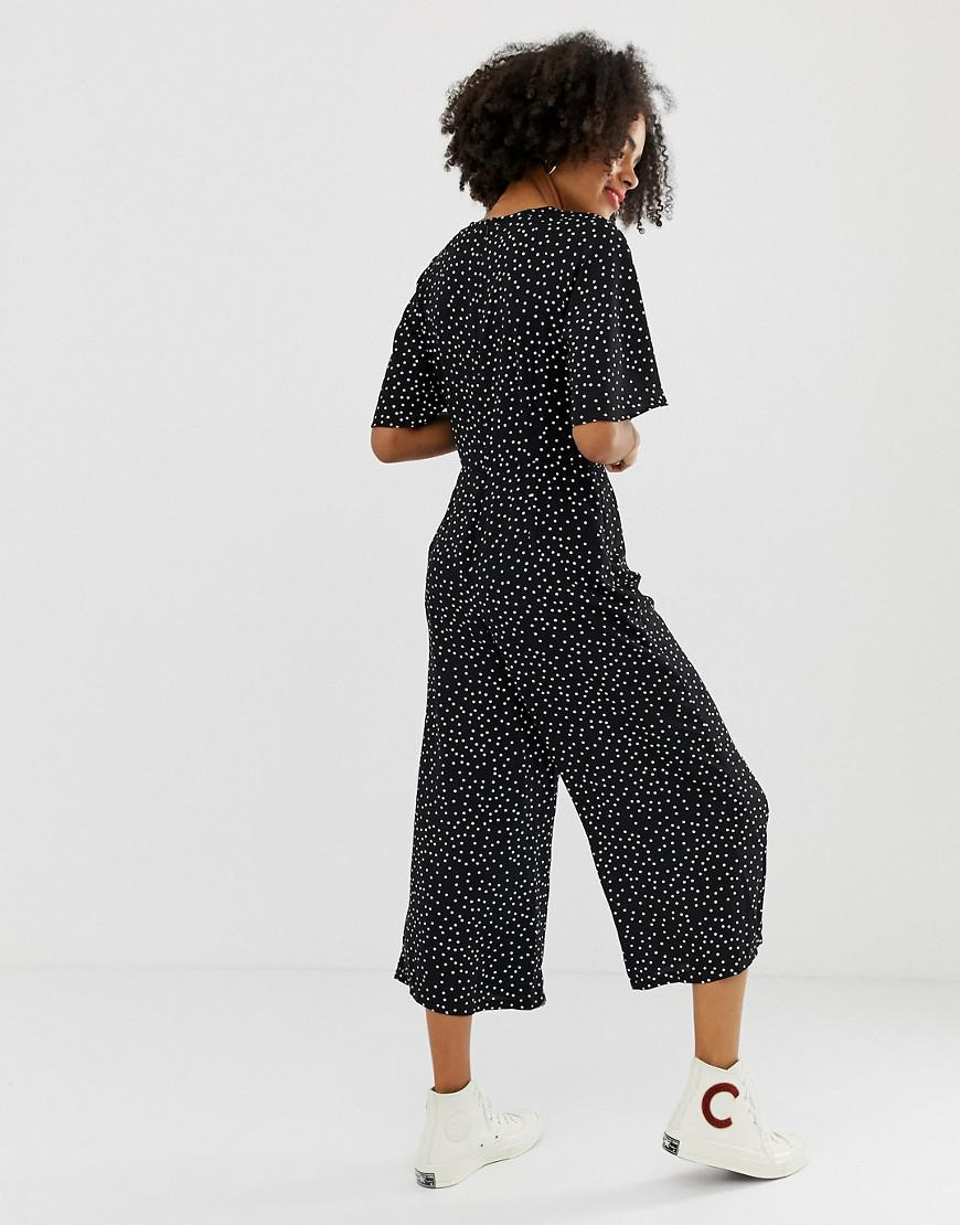 e3b45512529 Glamorous Relaxed Jumpsuit With Tie Front In Spaced Spot Print in Black -  Lyst