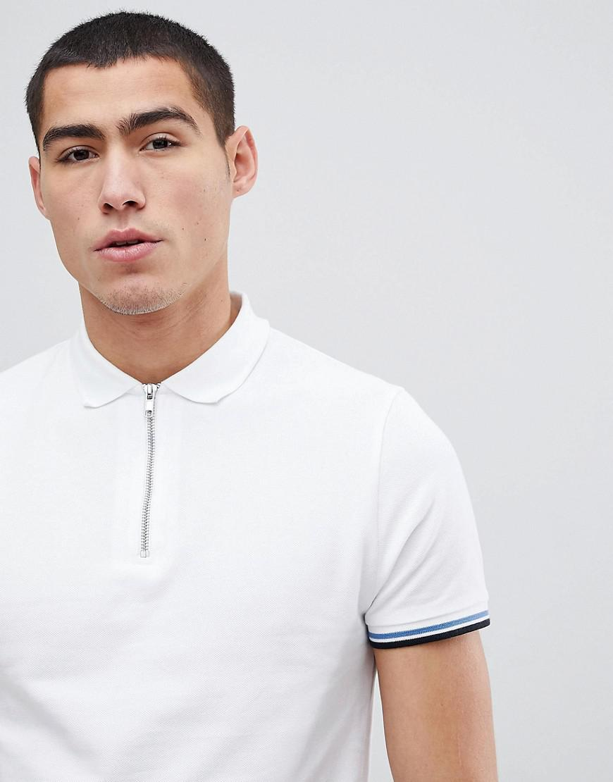 1a656715 ASOS Standard Polo With Zip And Tipping in White for Men - Lyst
