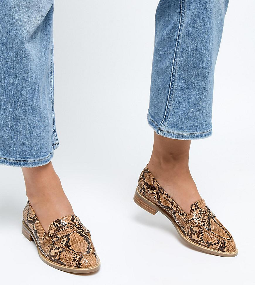 55cebbb1896 Lyst - ASOS Wide Fit Munch Loafer Flat Shoes In Snake