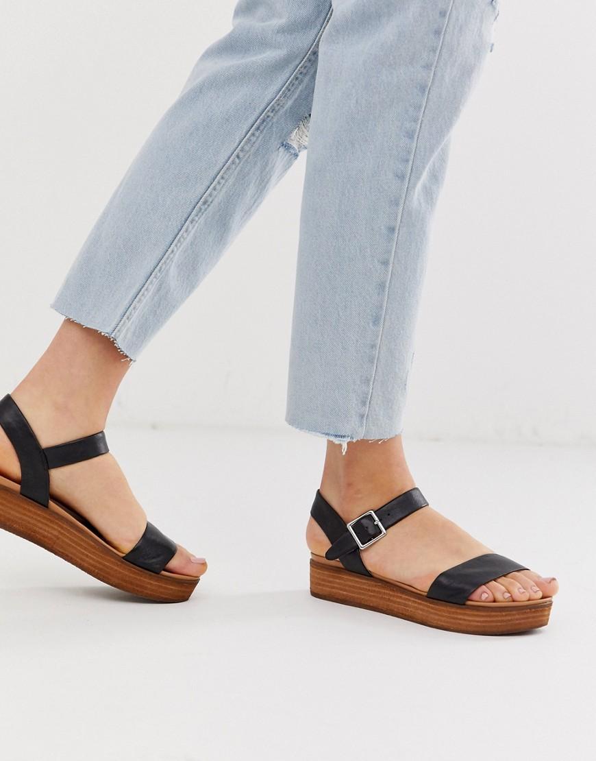 b7984f37e6 Steve Madden Aida Black Leather Wooden Flatform Sandals in Black - Lyst