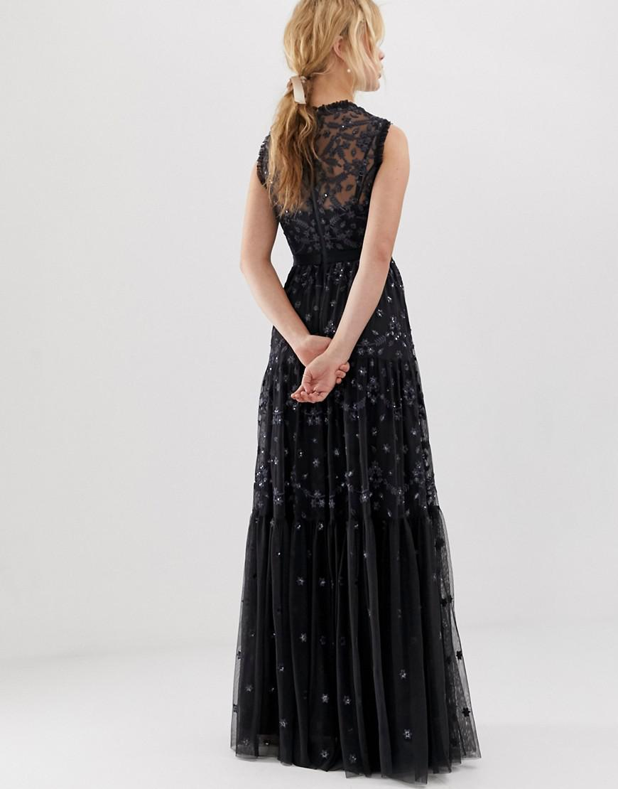 3f8a0f200de Needle   Thread Embroidered Lace Maxi Gown With High Neck In Graphite in  Black - Lyst
