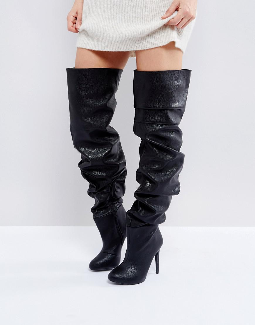 Public Desire Black Slouch Over The Knee Boots In Black Lyst