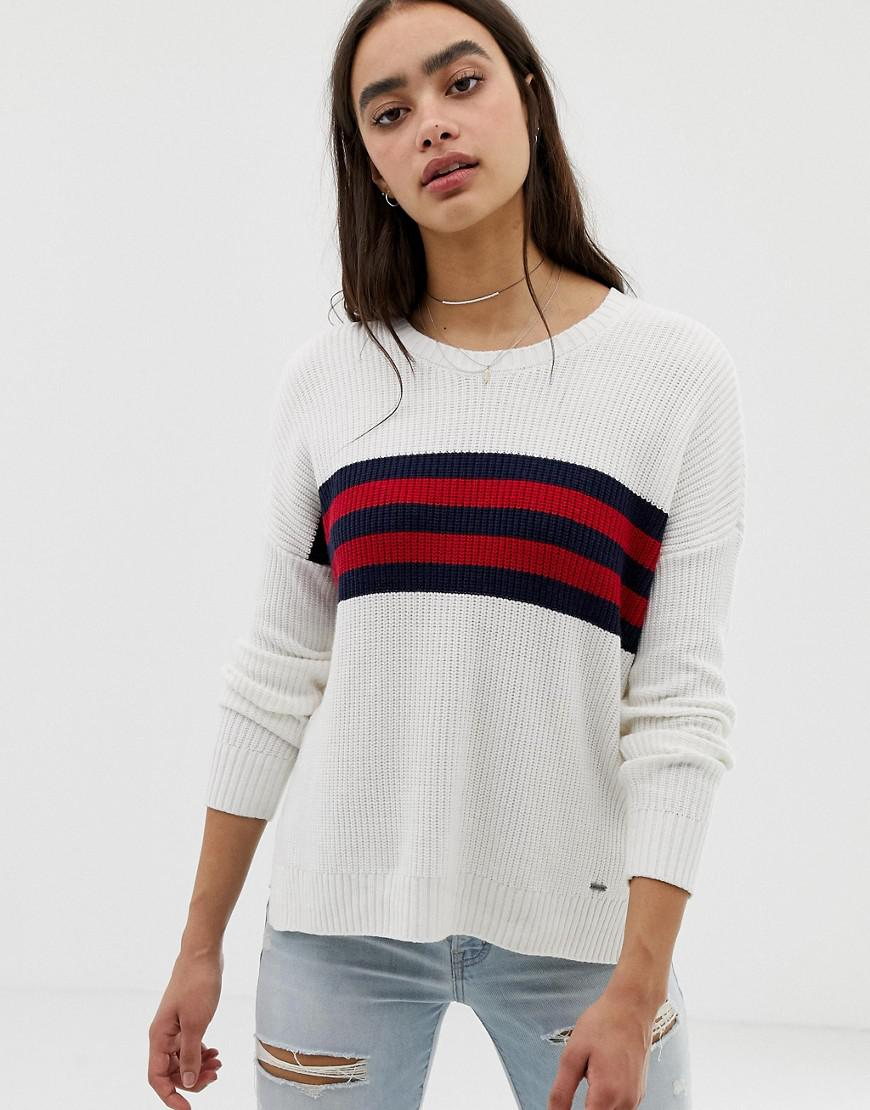 f11dfe8994 Lyst - Hollister Oversized Sweater With Stripe Panel in White