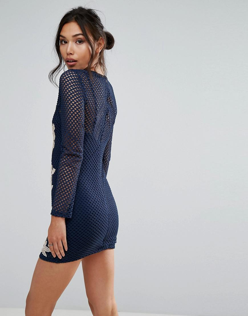 45414908 Club L Fishnet Long Sleeve Bodycon Dress With Rose Embroidery