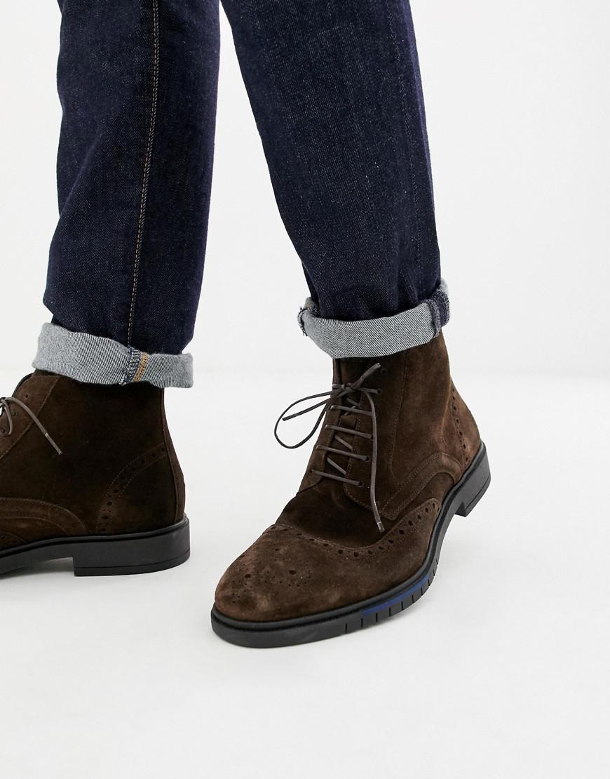 ae8dbff74 Tommy Hilfiger Flexible Dressy Brogue Suede Boot In Brown in Brown ...
