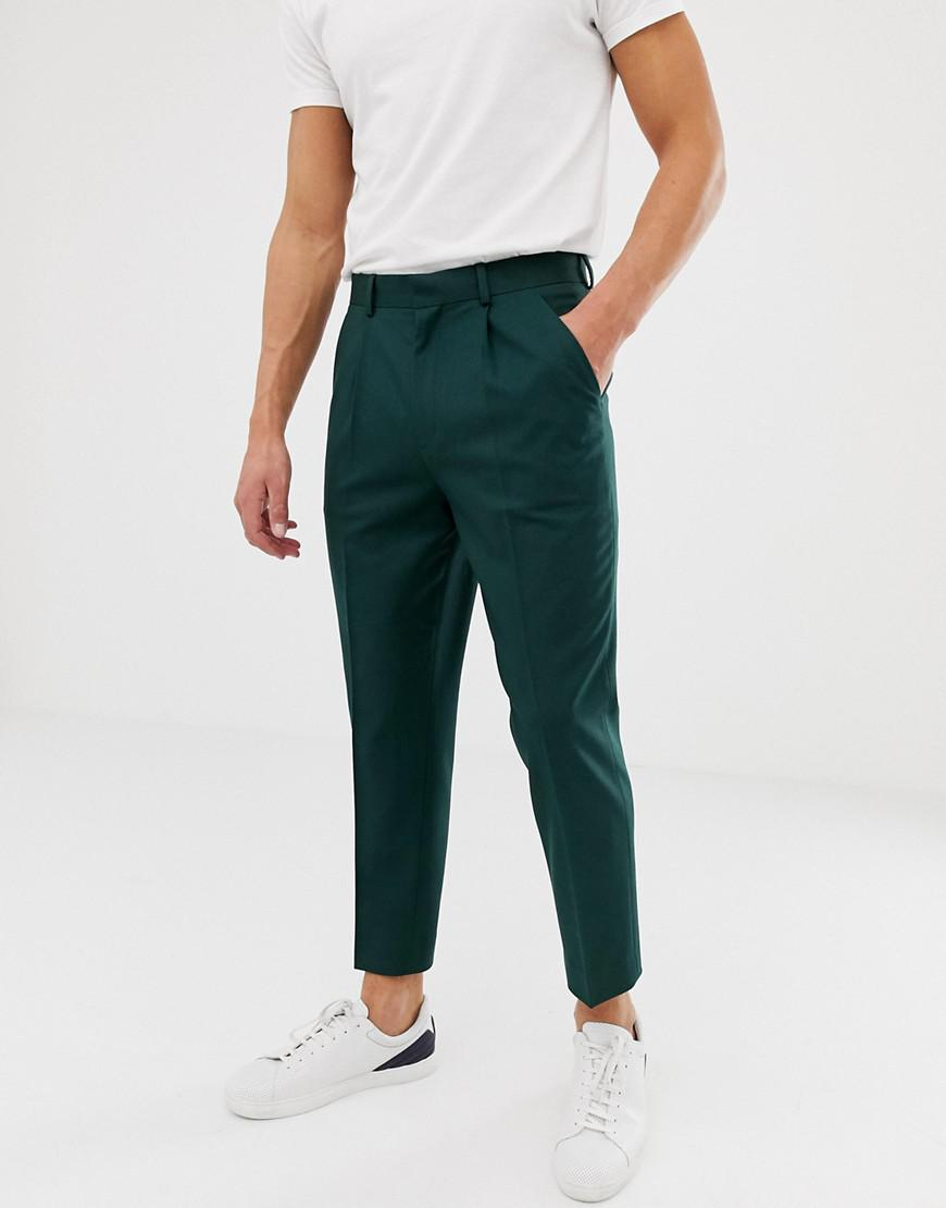dc67f24b8a56 ASOS Tapered Crop Smart Pant With Pleats In Green in Green for Men ...