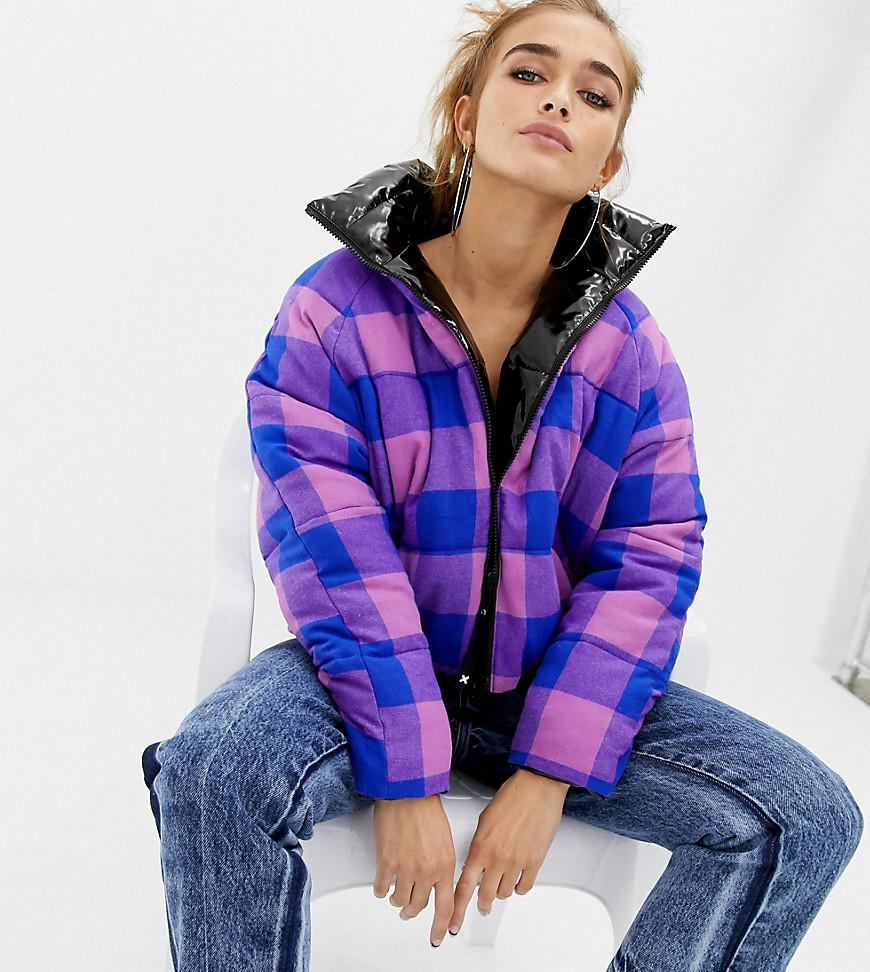 a25b39f1c0bb Collusion Petite High Shine Reversible Puffer Jacket in Purple - Lyst